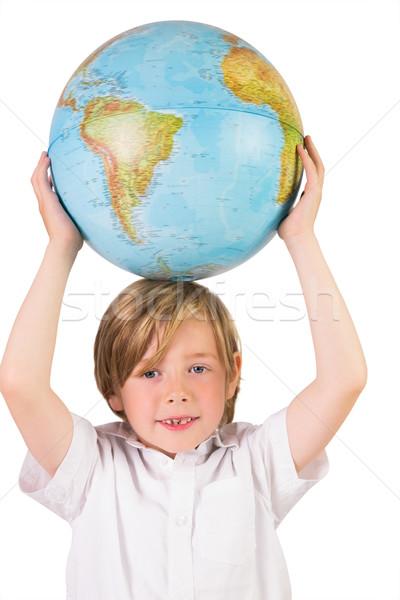 Student leren aardrijkskunde wereldbol witte papier Stockfoto © wavebreak_media