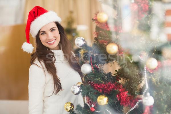 Uśmiechnięty brunetka choinka domu salon moda Zdjęcia stock © wavebreak_media