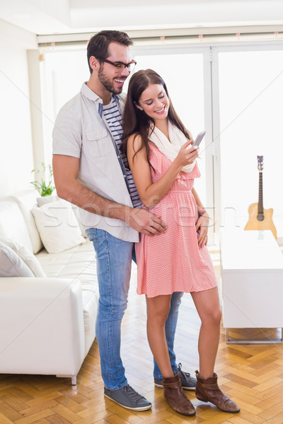 Morena namorado casa sala de estar Foto stock © wavebreak_media