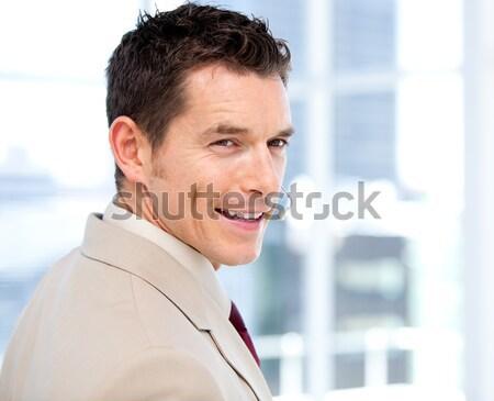 Empresário dolorido pescoço branco homem terno Foto stock © wavebreak_media