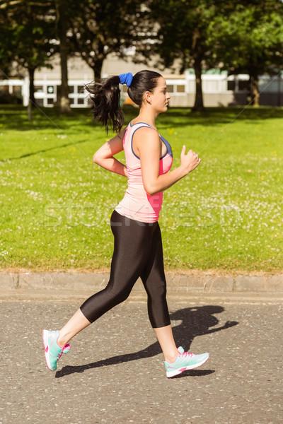 Uygun esmer jogging yol park Stok fotoğraf © wavebreak_media
