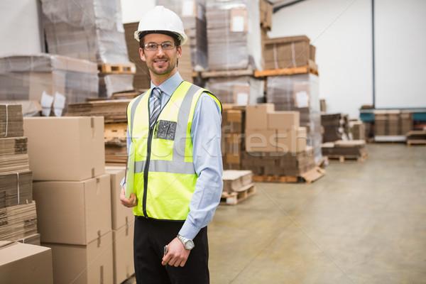 Porträt Halle Arbeitnehmer Zwischenablage Business Fabrik Stock foto © wavebreak_media