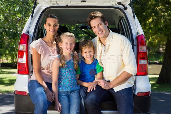 Foto stock: Família · feliz · pronto · estrada · trio · mulher