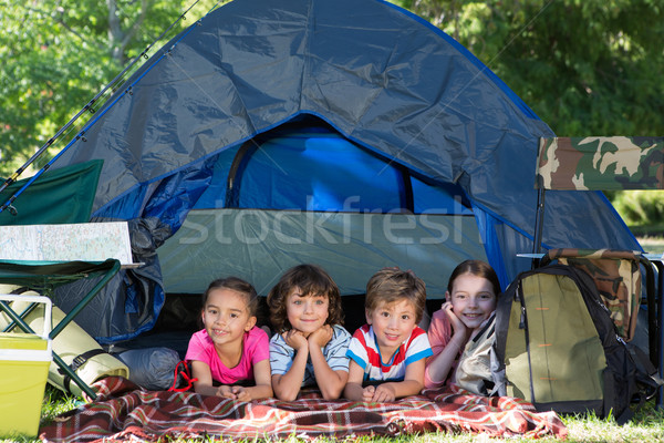 Happy siblings on a camping trip Stock photo © wavebreak_media