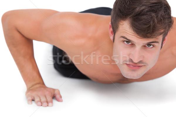Stock fotó: Fitt · póló · nélkül · férfi · fekvőtámaszok · fehér · fitnessz