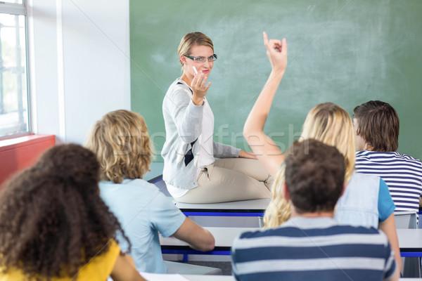 Student hand klas vrouwelijke meisje man Stockfoto © wavebreak_media