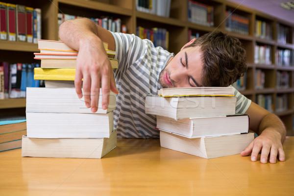 студент спящий библиотека университета школы образование Сток-фото © wavebreak_media