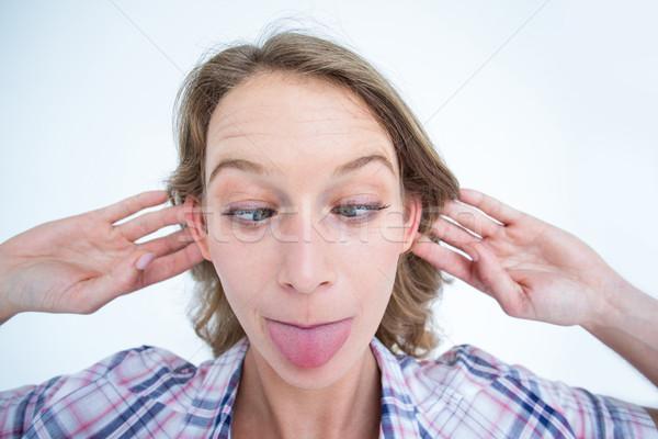 Vicces hipszter női stílus csinos kaukázusi Stock fotó © wavebreak_media