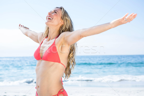 Smiling blonde in bikini arms outstretched Stock photo © wavebreak_media