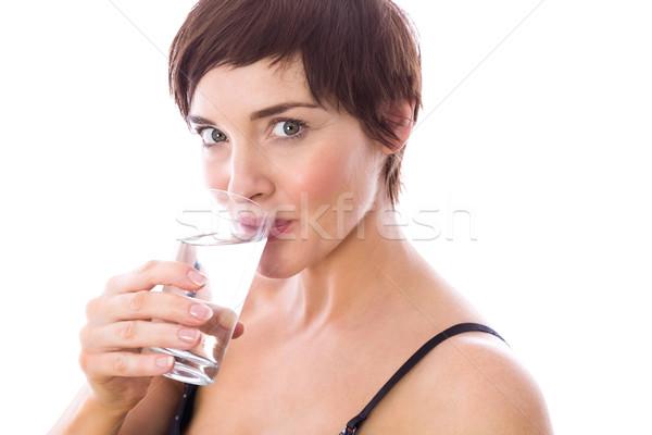 Kobieta w ciąży wody biały szczęśliwy szkła Zdjęcia stock © wavebreak_media