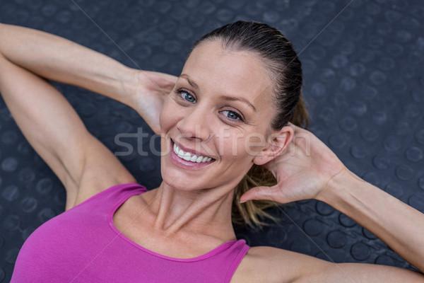мышечный женщину брюшной портрет счастливым здоровья Сток-фото © wavebreak_media