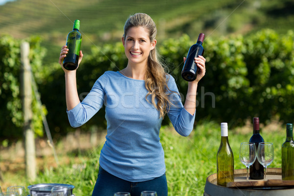 Portrait of smiling woman holding wine bottles Stock photo © wavebreak_media