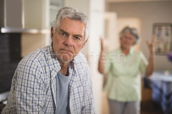 Stock fotó: Portré · idős · férfi · mérges · nő · portré · nő