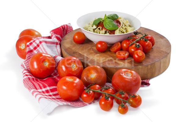 Pasta tomaten knoflook servet doek witte Stockfoto © wavebreak_media
