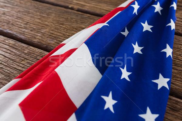 Amerikai zászló fa asztal közelkép háttér zászló ital Stock fotó © wavebreak_media