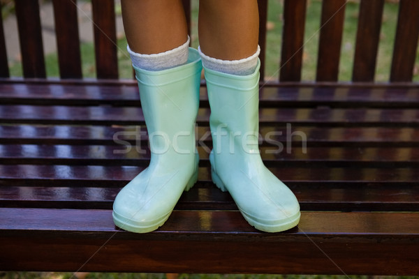 Low section of girl wearing green rubber boot standing on wooden bench Stock photo © wavebreak_media