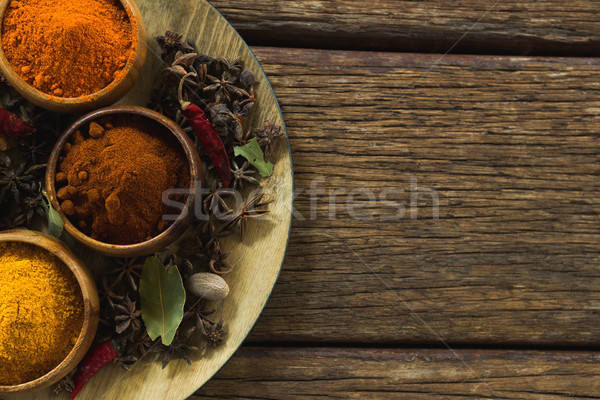 Various type of spices in plate on wooden table Stock photo © wavebreak_media