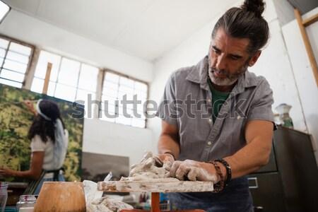Nő férfi tanul cserépedények osztály figyelmes Stock fotó © wavebreak_media