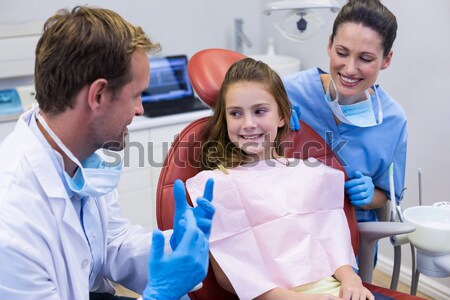Doctor teaching boy brushing teeth Stock photo © wavebreak_media