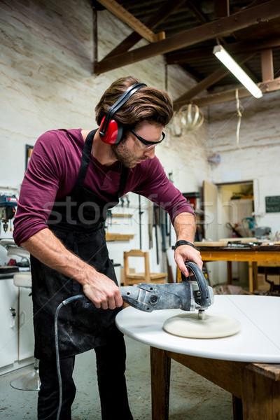 Marangoz çalışma tozlu atölye adam gözlük Stok fotoğraf © wavebreak_media