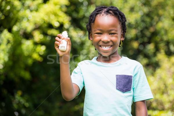 Jongen tonen astma boom zon natuur Stockfoto © wavebreak_media