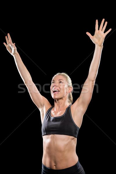 Homme athlète posant victoire noir heureux Photo stock © wavebreak_media