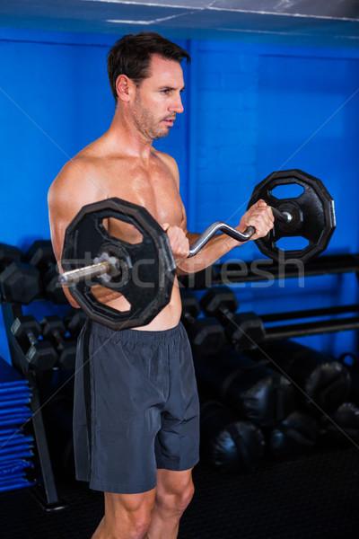 Shirtless atleet barbell gymnasium gezondheid Stockfoto © wavebreak_media