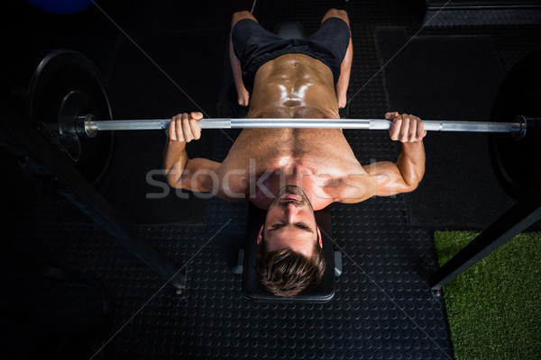 Shirtless vastbesloten man barbell Stockfoto © wavebreak_media