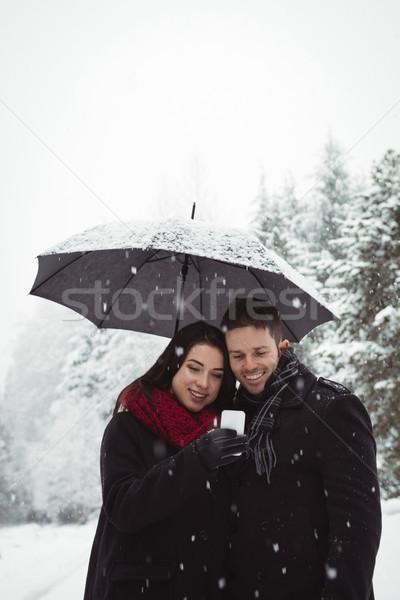 Smiling couple under umbrella using mobile phone in forest Stock photo © wavebreak_media