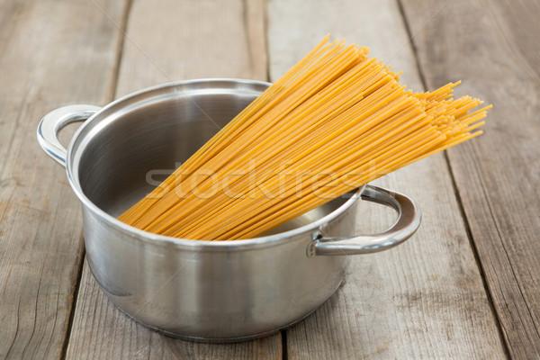 Spaghetti pasta voedsel hout reizen Stockfoto © wavebreak_media