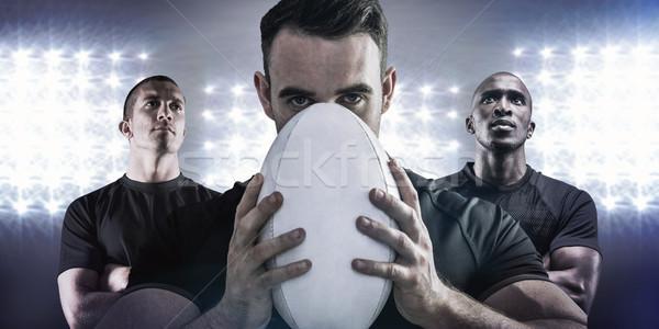 Foto stock: Imagen · duro · rugby · jugador