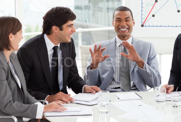 Feliz negócios internacionais pessoas discutir orçamento plano Foto stock © wavebreak_media