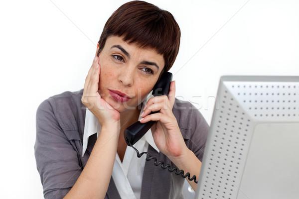 çekici işkadını telefon büro beyaz iş Stok fotoğraf © wavebreak_media