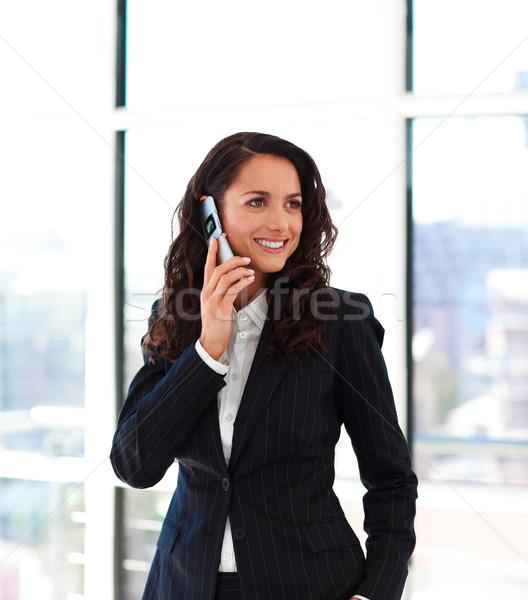Foto stock: Belo · empresária · falante · telefone · escritório · negócio