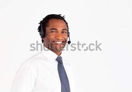 Handsome afro-american with headset  Stock photo © wavebreak_media