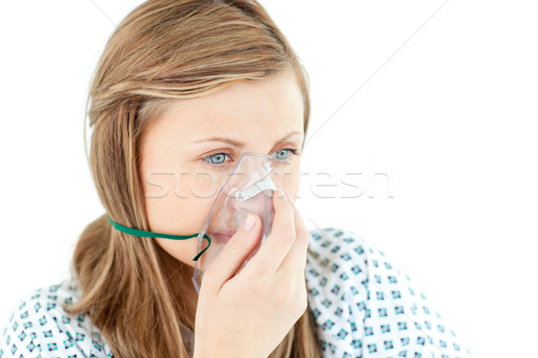 Vrouwelijke jonge patiënt masker witte persoon Stockfoto © wavebreak_media