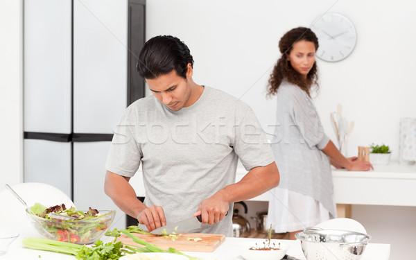 濃縮された 男 野菜 ガールフレンド キッチン ストックフォト © wavebreak_media