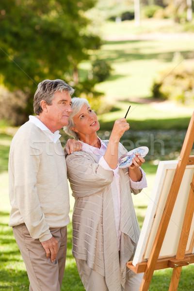 Senior couple painting in the park Stock photo © wavebreak_media