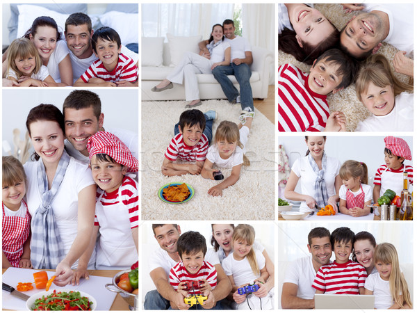 Collage familia momentos junto casa Foto stock © wavebreak_media