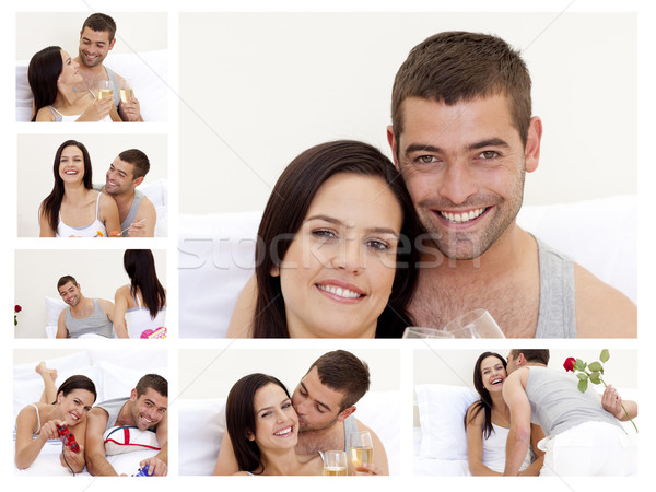 Collage of a lovely couple enjoying the moment at home Stock photo © wavebreak_media