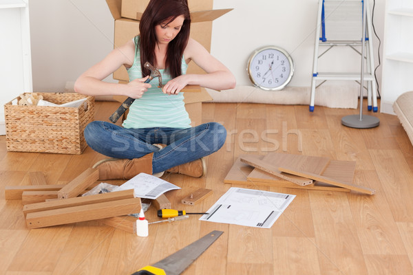 Beautiful red-haired girl using a hammer for diy at home Stock photo © wavebreak_media