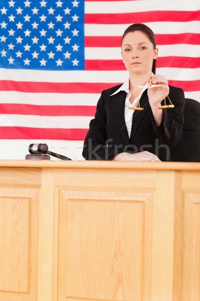 Cute juez escalas justicia bandera de Estados Unidos Foto stock © wavebreak_media