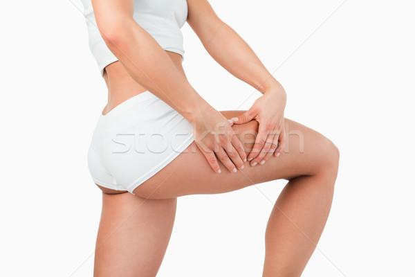 フィット 女性 触れる 大腿 白 スポーツ ストックフォト © wavebreak_media