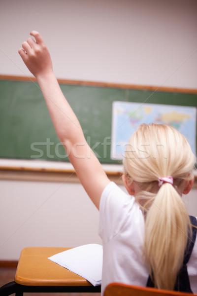 back view of a schoolgirl raising her hand in a classroom Stock photo © wavebreak_media