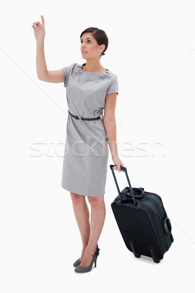 Zdjęcia stock: Kobieta · worek · wzywając · taksówką · biały · pracy