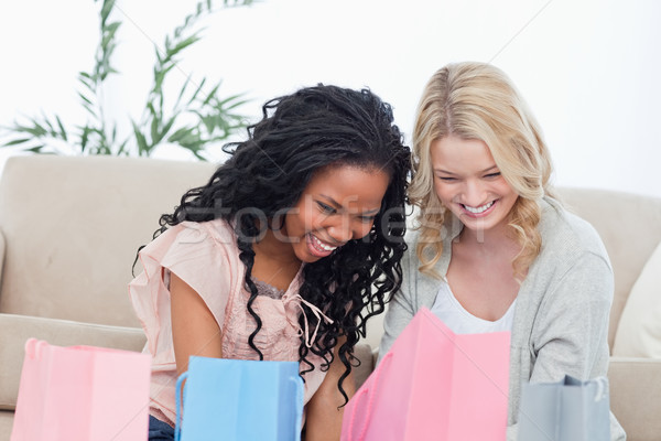 Two women are smiling are sitting on the floor and looking at clothes they bought Stock photo © wavebreak_media