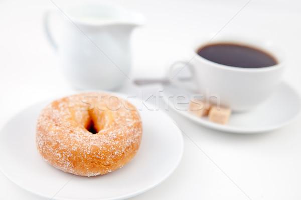 ドーナツ 粉砂糖 カップ コーヒー 白 プレート ストックフォト © wavebreak_media