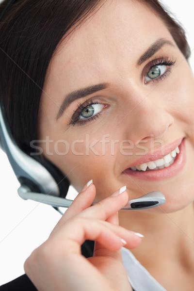 Belo empresária fone branco feliz olhos Foto stock © wavebreak_media