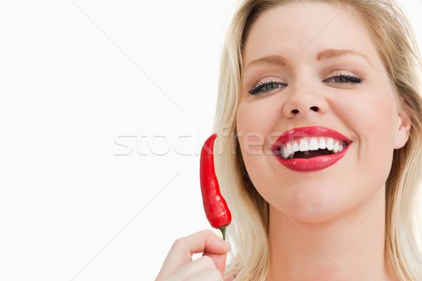 Sarışın kadın çili gülme beyaz mutlu Stok fotoğraf © wavebreak_media
