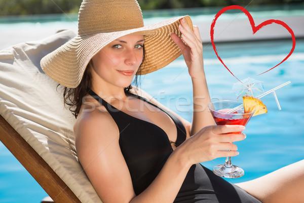 Afbeelding mooie vrouw drinken zwemmen Stockfoto © wavebreak_media